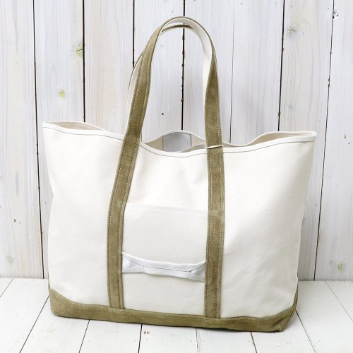 『Cotton Canvas Tote Bag L with Cow Suede』