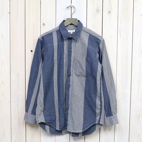 『Short Collar Shirt-Mini Gingham Big St.』 (Dk.Navy/Grey)