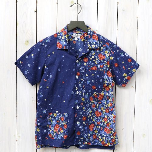 『Camp Shirt-Big Floral Lawn』(Navy/Red)