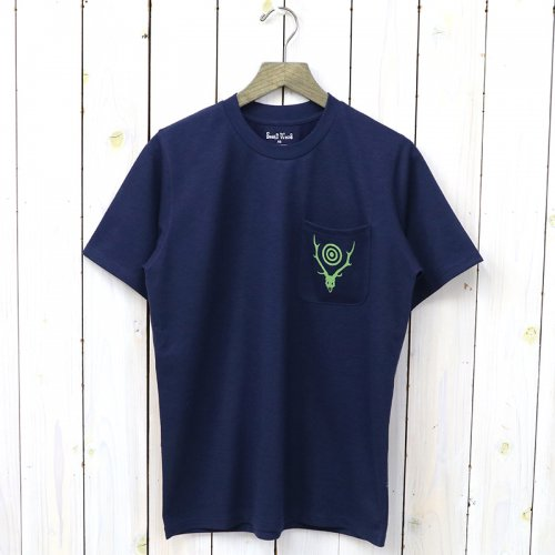 『Round Pocket Tee-Circle Horn』(Navy)