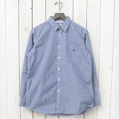 『Cotton Polyester Broad Check Big Shirt』(Blue)