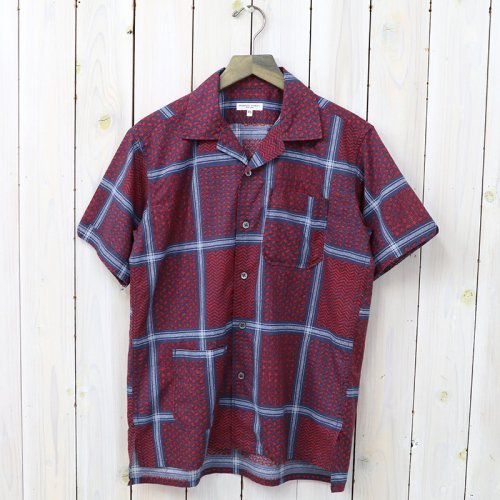 『Camp Shirt-Afghan Print』(Navy/Red)