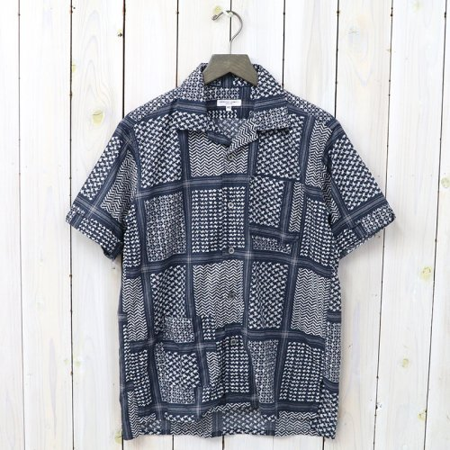 『Camp Shirt-Afghan Print』(Navy/White)