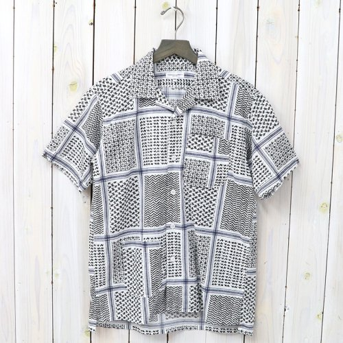 『Camp Shirt-Afghan Print』(White/Black)
