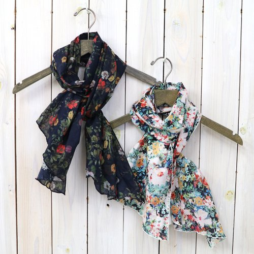 『Long Scarf-Floral Sheeting』