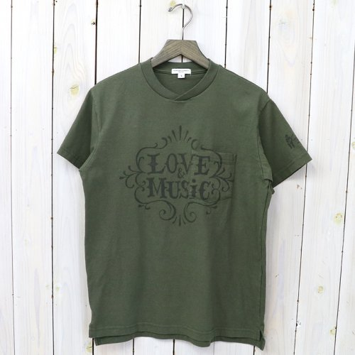 『Printed Cross Crew Neck T-shirt-Love & Music』(Olive)