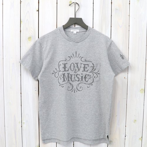 『Printed Cross Crew Neck T-shirt-Love & Music』(Grey)