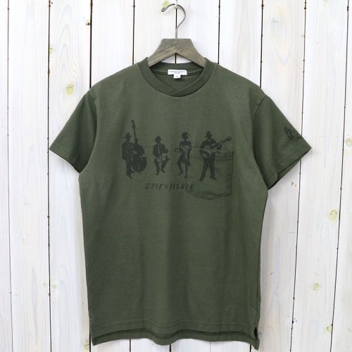 『Printed Cross Crew Neck T-shirt-Musicians』(Olive)
