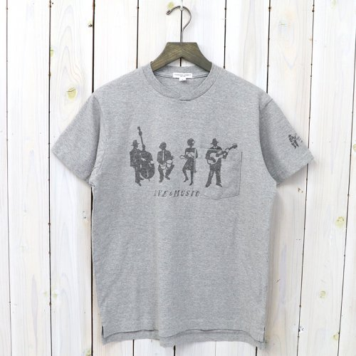 『Printed Cross Crew Neck T-shirt-Musicians』(Grey)