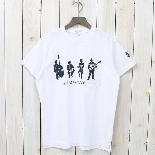 『Printed Cross Crew Neck T-shirt-Musicians』(White)
