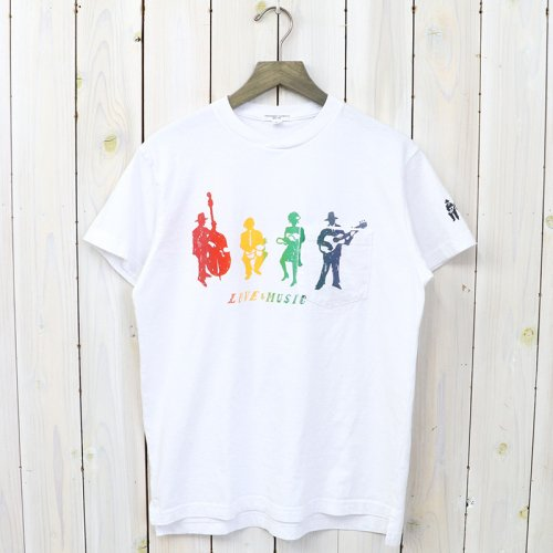 『Printed Cross Crew Neck T-shirt-Musicians』(White/Multi)