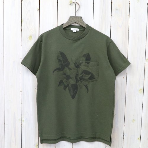 『Printed Cross Crew Neck T-shirt-Floral』(Olive)