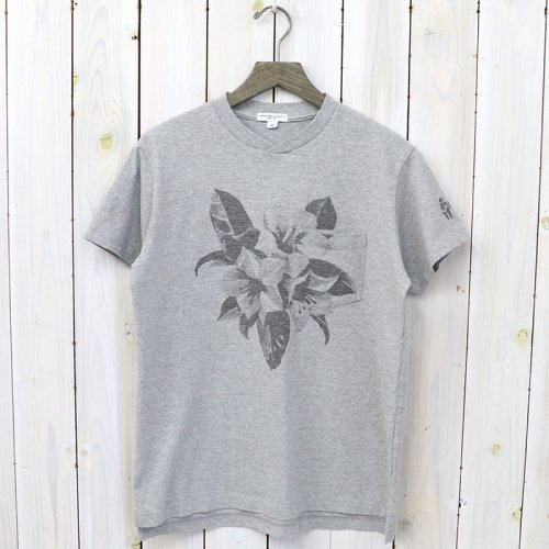 『Printed Cross Crew Neck T-shirt-Floral』(Grey)