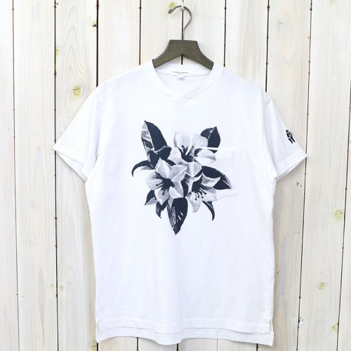 『Printed Cross Crew Neck T-shirt-Floral』(White)