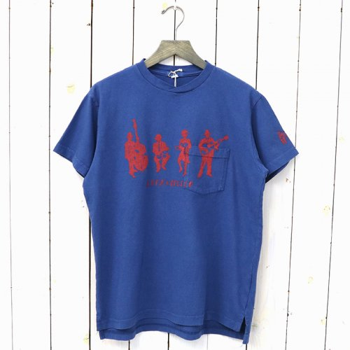 『Printed Cross Crew Neck T-shirt-Musicians』(Royal)