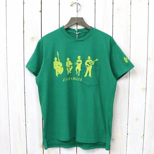 『Printed Cross Crew Neck T-shirt-Musicians』(Kelly)