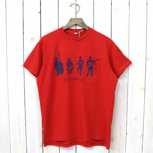 『Printed Cross Crew Neck T-shirt-Musicians』(Red)