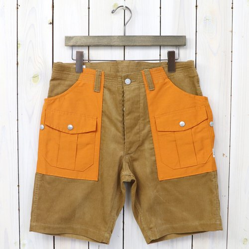 SASSAFRAS『BOTANICAL SCOUT PANTS 1/2(SUMMER CORDUROY×60/40)』(BEIGE×ORANGE)