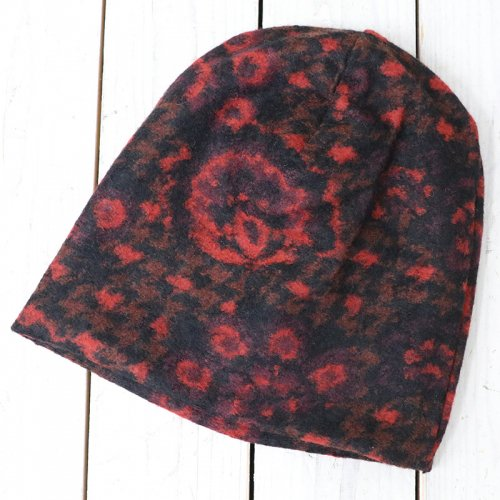 『Long Beanie-Floral Knit』