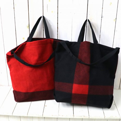 『Carry All Tote w/Strap-Big Plaid Wool Melton』