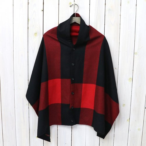 『Button Shawl-Big Plaid Worsted Wool Flannel』(Black)