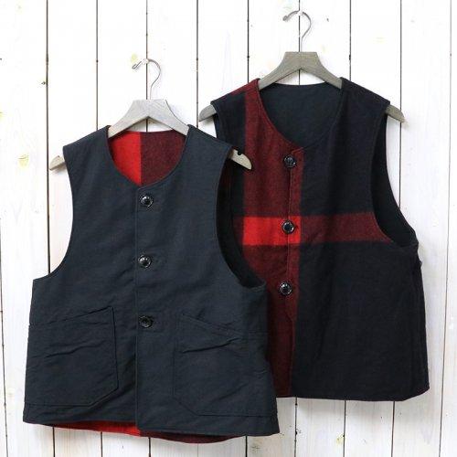 『Over Vest-Plaid/Cotton Double Cloth』(Black&Black)