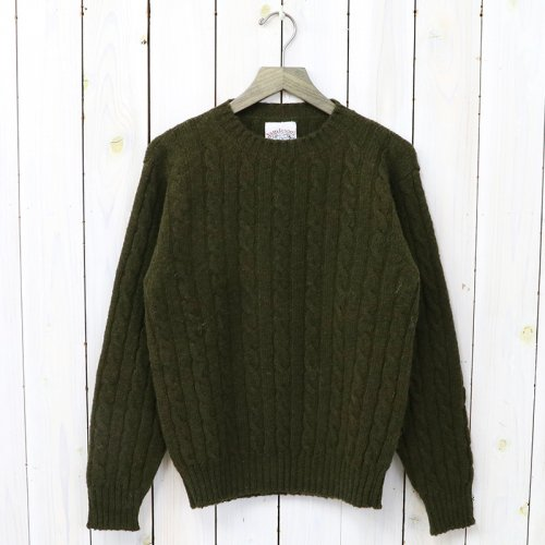 Jamieson's『CABLE CREW-NECK PULLOVER』(OLIVE)