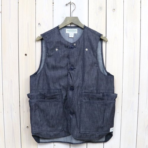 SASSAFRAS『WHOLE HOLE VEST(6oz DENIM/NYLON TAFFETA)』(INDIGO)