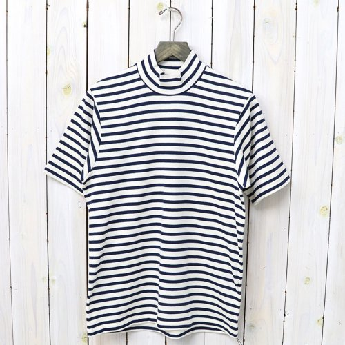ANATOMICA『MOCK NECK TEE S/S HORIZONTAL STRIPE』(Navy)