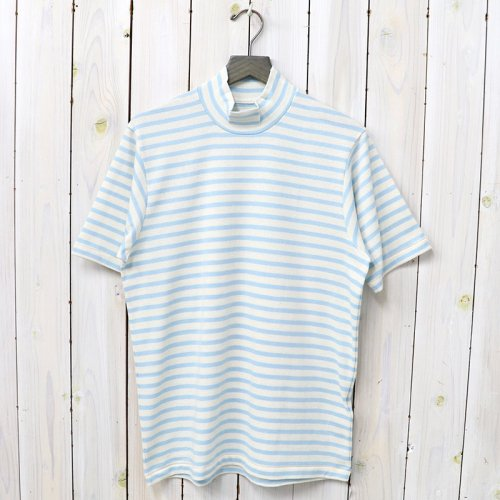 『MOCK NECK TEE S/S HORIZONTAL STRIPE』(Sax)