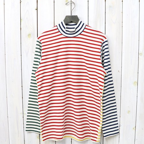 『MOCK NECK TEE L/S HORIZONTAL STRIPE』(Multi)