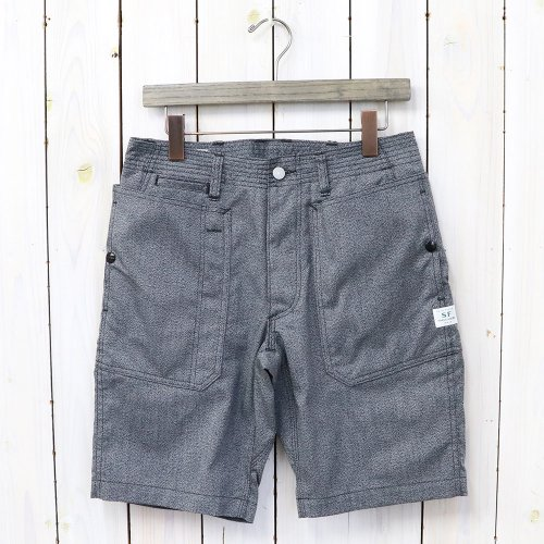 SASSAFRAS『FALL LEAF SPRAYER PANTS 1/2(T/C AMERICAN OXFORD)』(HEATHER BLACK)