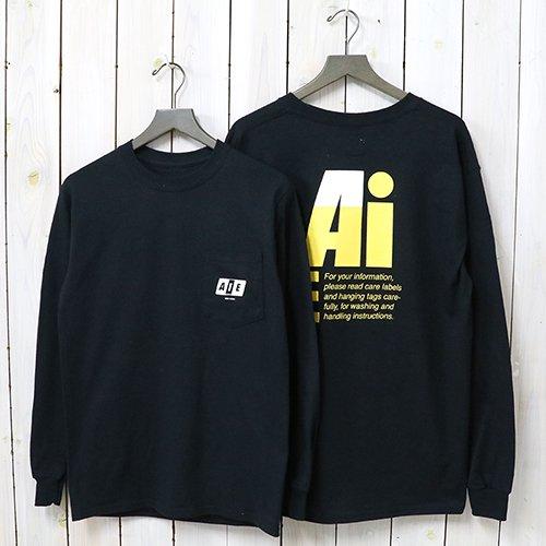 AiE『Printed L/S Pocket Tee-Big AiE Logo』(Black)