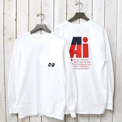 AiE『Printed L/S Pocket Tee-Big AiE Logo』(White)