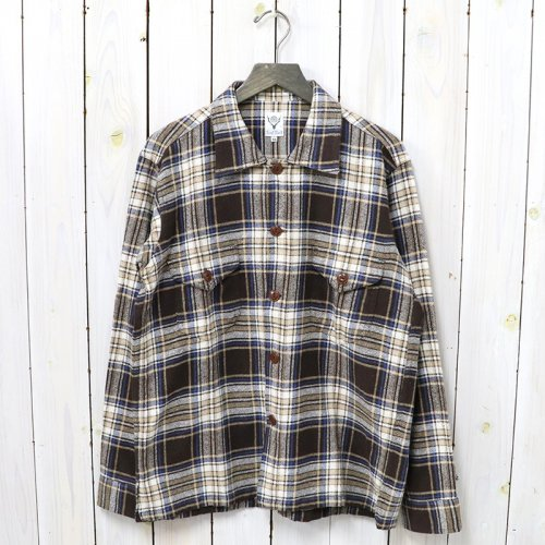 『Smokey Shirt-Cotton Twill/Plaid』(Brown)