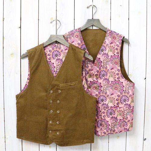 『Reversible Vest-11W Corduroy/Floral Jacquard』(Chestnut&Pink)