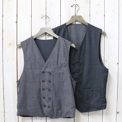 『Reversible Vest-Glen Plaid Houndstooth/Worsted』