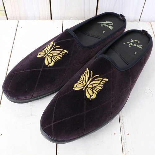 Needles『Papillon Emb. Mule-Pe/C Velvet/Opal Finished』(Bordeaux)