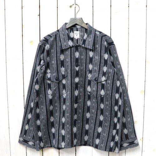 SOUTH2 WEST8『Smokey Shirt-Cotton Cloth/Ikat Pattern』(Black)