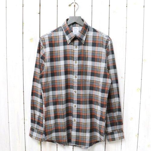 Brooks Brothers『コットン ブラッシュドツイル プラッド スポーツシャツ-Regent Fit』(Gray/Orange)
