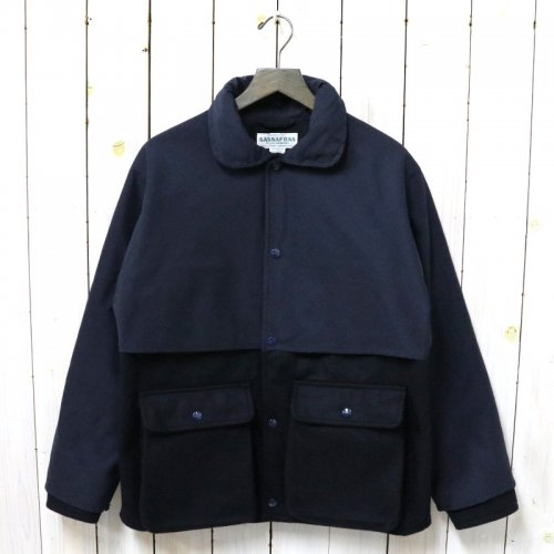 SASSAFRAS『PLANT CRUISER JACKET(WOOL MELTON+60/40)』(NAVY)