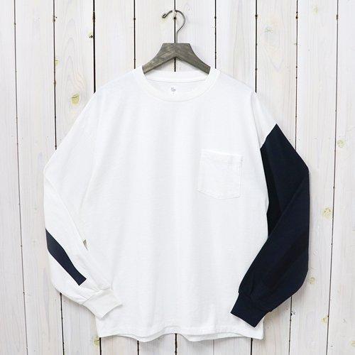 Kaptain Sunshine『Weat Coast Long Sleeved Tee』(White&Navy Combo×Navy Line)