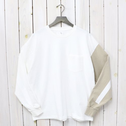Kaptain Sunshine『Weat Coast Long Sleeved Tee』(White&Beige Combo×White Line)