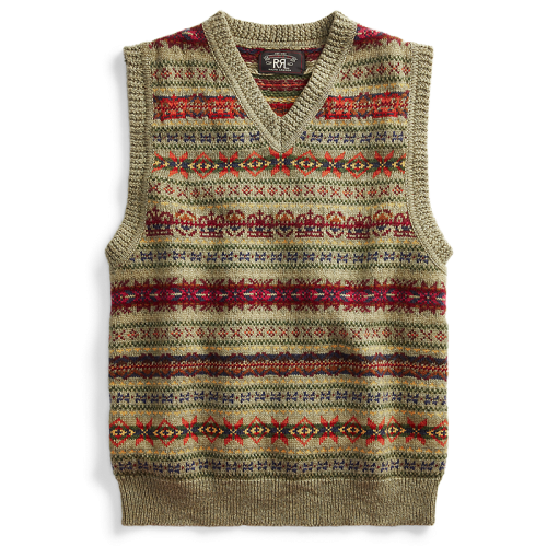 Double RL『FAIR ISLAND SWEATER VEST』(OLIVE)