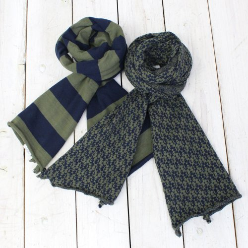 Engineered Garments『Jersey Knit Scarf-Navy/Olive Jersey & Jacquard』