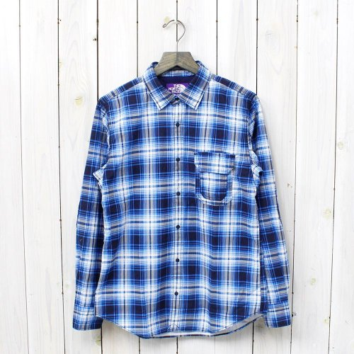 THE NORTH FACE PURPLE LABEL『Cotton OX Twill Print Check Shirt』(Blue)