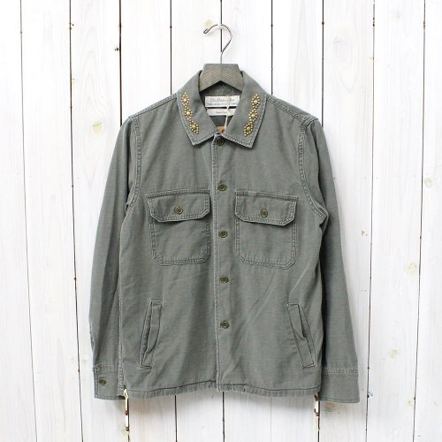 【SALE特価40%off】REMI RELIEF『ミリタリーシャツ-ネイティブスタッズ&ビーズ』(KHAKI)