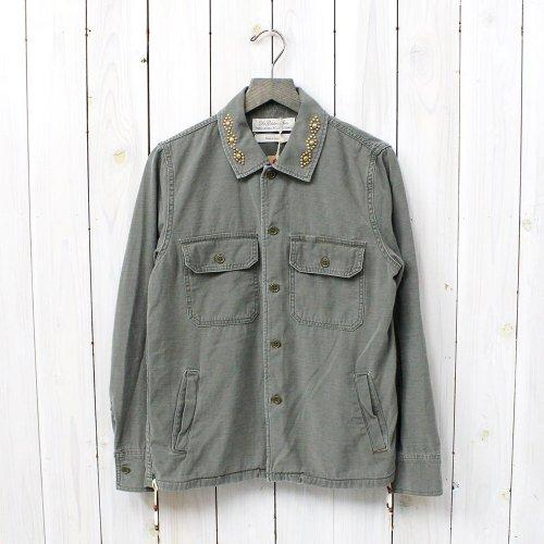 『ミリタリーシャツ-ネイティブスタッズ&ビーズ』(KHAKI)