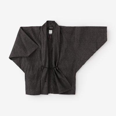 伊勢木綿20/20麻混 もじり袖 短衣 単/消炭色2(けしずみいろ)