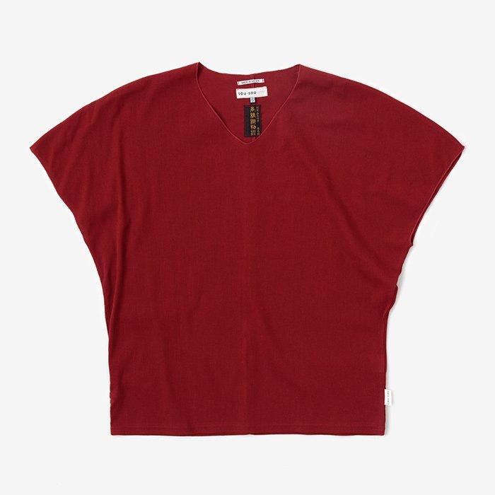 高島縮 袖なしジバン/臙脂色(えんじいろ)